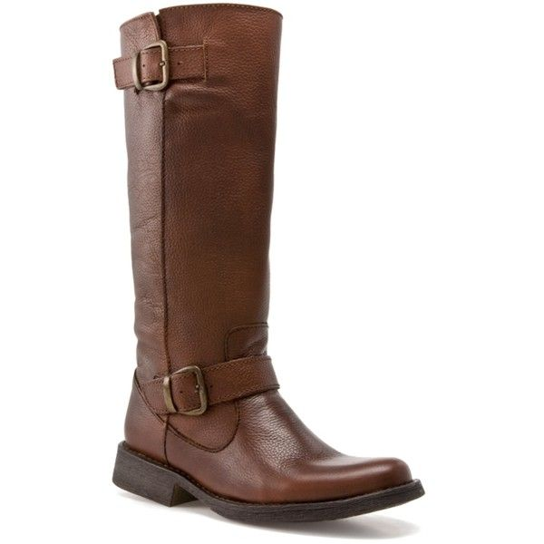 SM Women's Frannk Boot - Brown ($120) ❤ liked on Polyvore featuring shoes, boots, tall boots, knee-high boots, tall knee high boots, knee boots, tall buckle boots, pull on boots and knee high buckle boots