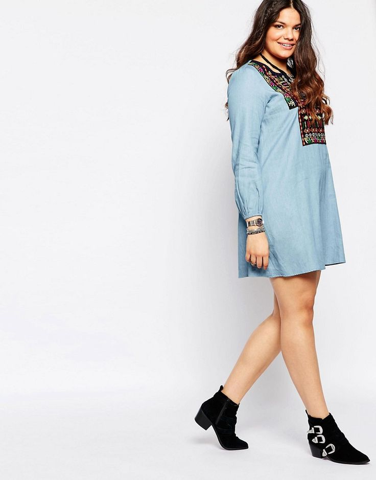 Image 4 of Alice & You Embroidered Denim Dress