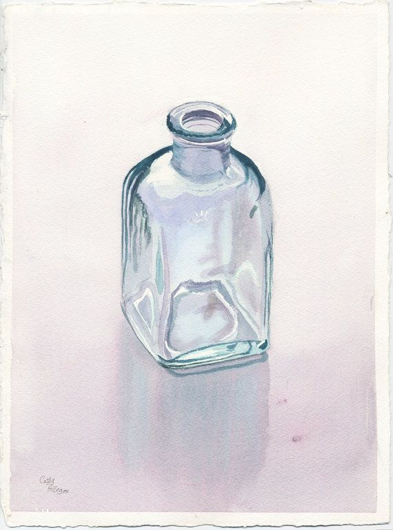 Glass Bottle Art Original Watercolor Painting by by CathyHillegas