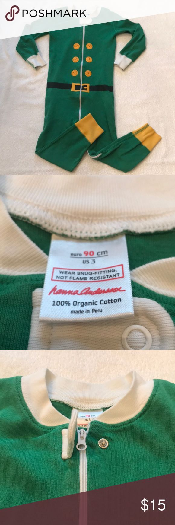 EUC Hanna Andersson 3T organic cotton Elf Pajamas EUC Hanna Andersson 3T organic cotton Elf Pajamas as shown. No stains, holes, rips, or fraying. Zipper works well. Snap functions as intended. Adorable on! Please inspect pictures carefully before buying for signs of wear and use as these have been worn. Hanna Andersson Pajamas