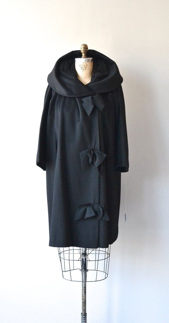 Papyon Trio coat vintage 1960s coat black wool 60s by DearGolden