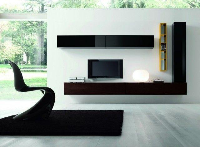 25-idées-conseils-meuble-tv-suspendu-bois-foncé-noir-accents-jaunes