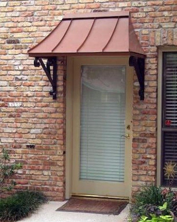 Awningdesign Posted To Instagram The Copper Juliet Style Door Awning Awnings Copperawning Metala Residential Front Doors Front Door Awning Backyard Canopy