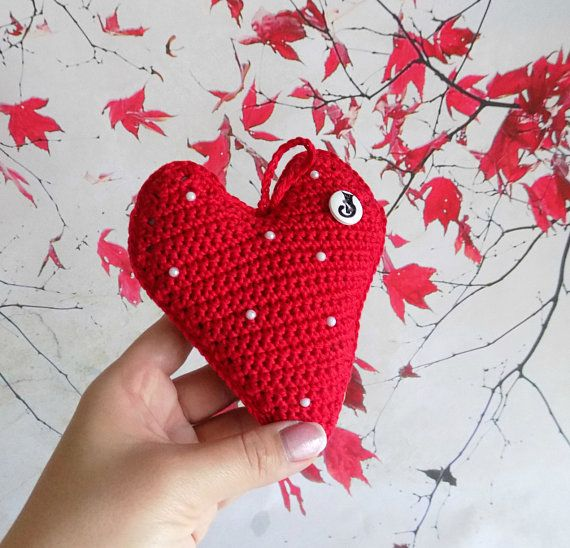 Crochet heart Decorative knitted heart Home decor Gift on