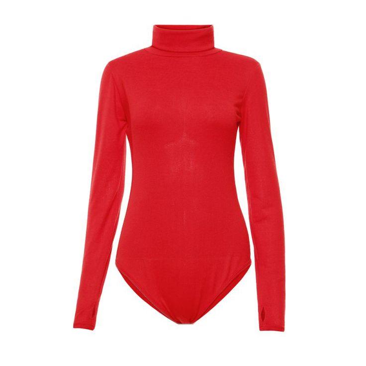 冬のファッション女性セクシーなタートルネックボディスーツ長袖スキニー短いジャンプスーツロンパースジャンプスーツ
