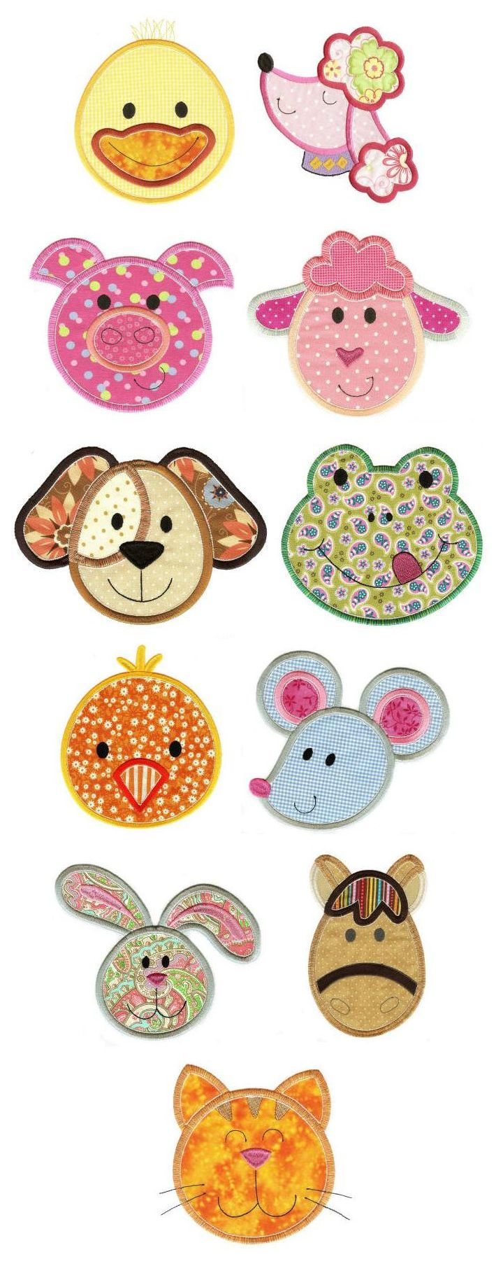 Cute animal faces applique design set available for
