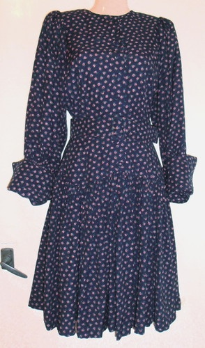 *DROOPY  BROWNS*Vtg 80s Pretty Floral Print DRESS Circular Skirt ExcCond.* XS/S | eBay