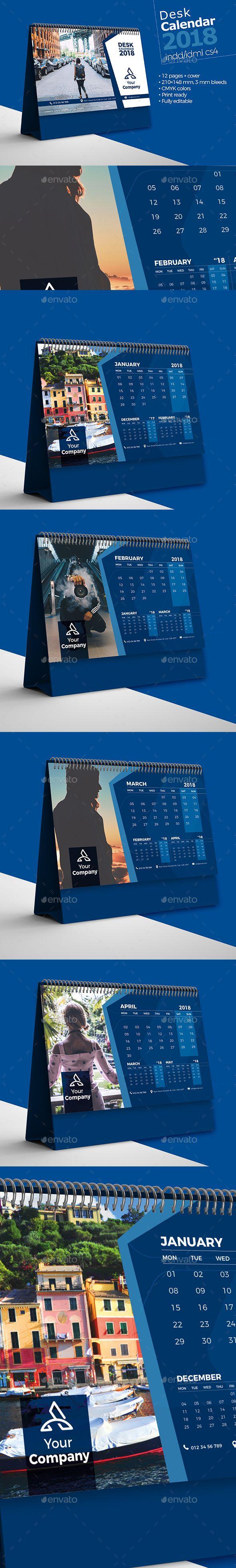Desk Calendar 2018 - Calendars Stationery#calendars  #stationery  #DeskCalendar  #graphicriver  #Design #Desk