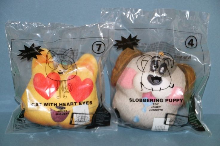 NEW McDonald's Happy Meal Toy Emoji Slobbering Puppy #4 & Cat With Heart Eyes #7