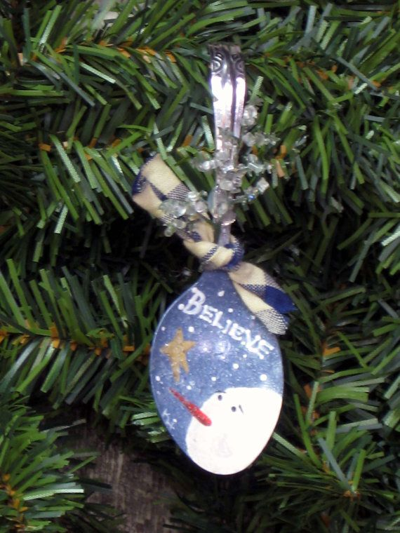 Handpainted spoon ornament with snowman by KathysKountry on Etsy, $8.00