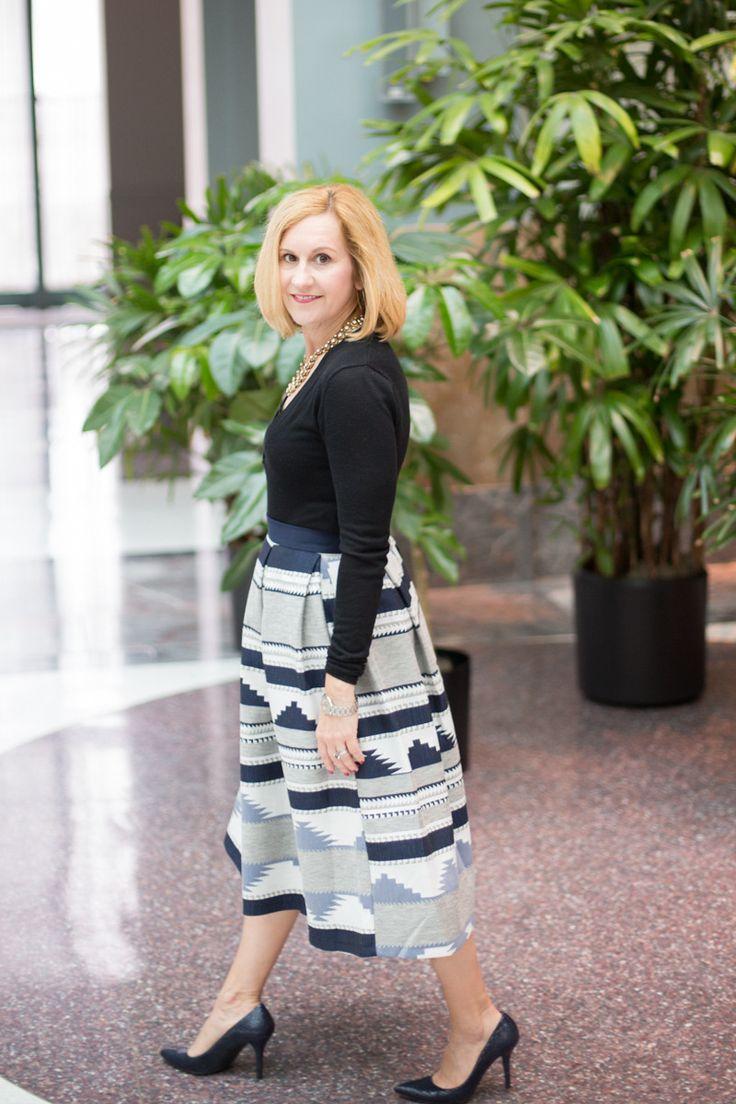 Aztec Pleated Goodness with Closet London Midi skirt