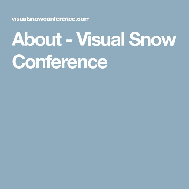 About - Visual Snow Conference