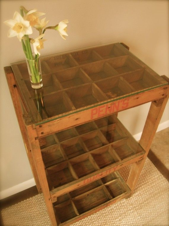 Soda crate table... (would be a good way for Ace to display her rock collection w/o sacrificing usable space)