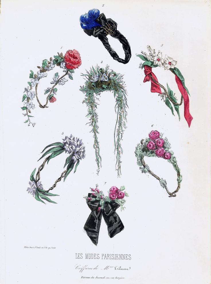 Arsenical wreaths from the Maison Tilmans, Paris, Les modes parisiennes, January 24, 1863. From Alison Matthews David's collection. #FashionVictims #prettybutpoisonous #arsenic #victorianfashion #halloween