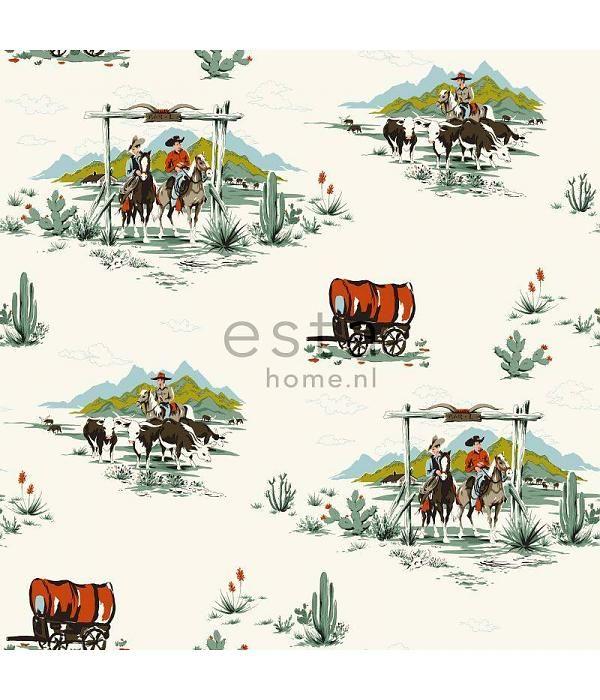 Esta for Kids Everybody Bonjour krijtverf Cowboys behang 128717