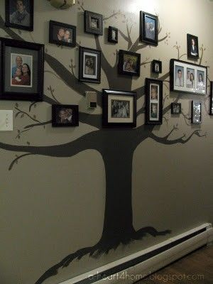 Awesome idea for a hallway or family room!    One blank wall ... basic tree painted on it ... and family history by using family photos through the generations