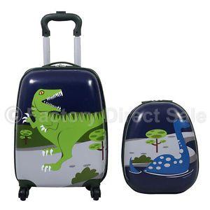 "d2f70c21ec1 NB Dinosaur Hard Shell 2 Piece Kids Luggage Set 16"" Trolley Case   12""  Backpack"