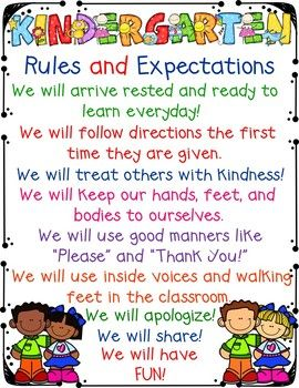 This is a poster that can be used in your Kindergarten classroom to talk about rules and expectations from the 1st day of school to the last. You can copy it and give it to parents to have them help reinforce your classroom rules. Or you can enlarge it to display in your classroom.