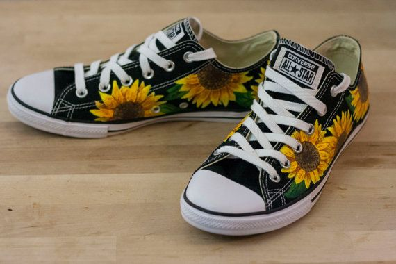 6b43fbcd3f75 Sunflower Floral Custom Converse All-Star Shoes- Hand Painted ...