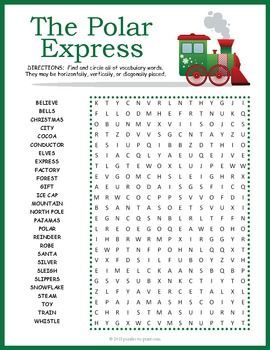 The train is pulling out of the station and everyone can climb on board with this fun Polar Express word search activity.
