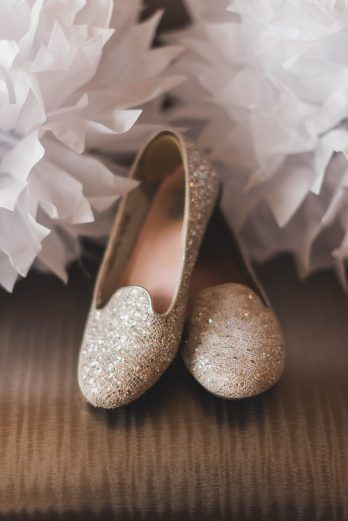 gold sparkle wedding flats, gold wedding shoes  | hendry house, stephanie dee photography
