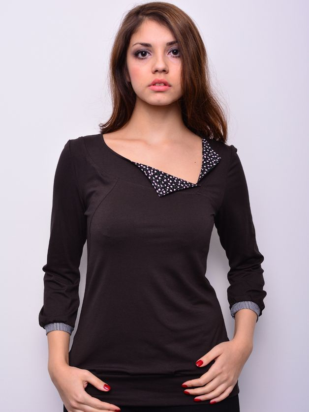 Longsleeves - Jersey Shirt - braun - Blumen - Blüten - ein Designerstück von stadtkind_potsdam bei DaWanda