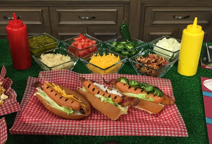 A Hot Dog Bar is the perfect addition to your baseball themed party!  Guests can select the toppings of their choice--simple, fun and affordable!