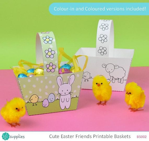 Printable Easter Basket - cute bunny, sheep, chick and egg design, Colour-in and Coloured versions included - Digital Instant Download B5002 Design by hfcSupplies Etsy