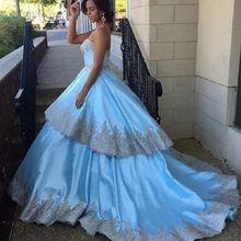 Custom Made vestidos de casamento da princesa vestidos de casamento sem alças em camadas azul europa elegante vestidos de noiva 2016(China (Mainland))