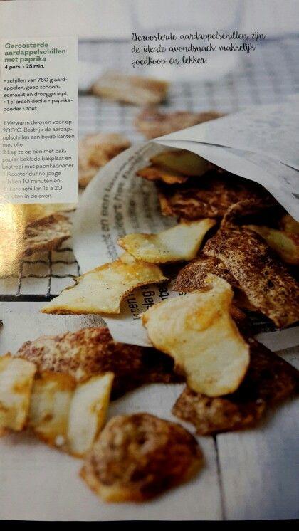 Geroosterde aardappelschillen met paprika - libelle lekker