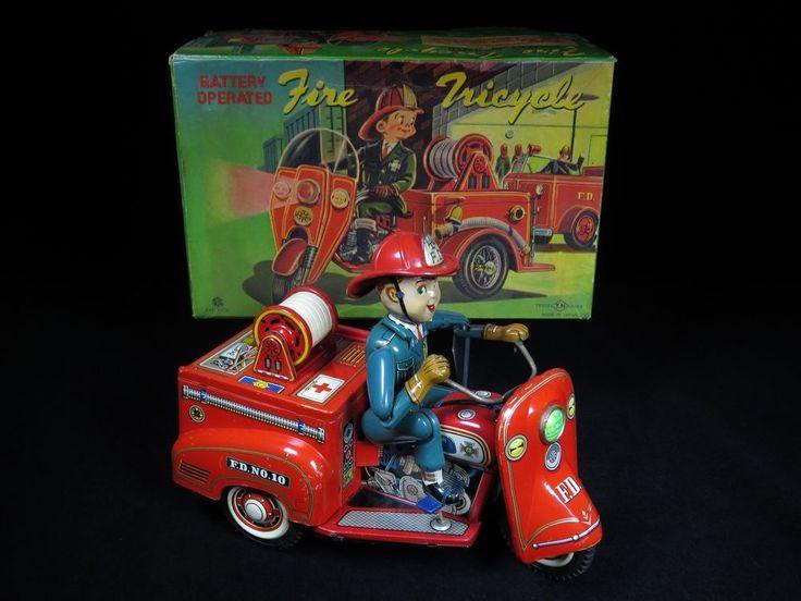 "RARE 9 1/2"" VINTAGE FIRE CHIEF TRICYCLE BIKE TIN B/O ORIG. BOX T.N. NOMURA JAPAN"