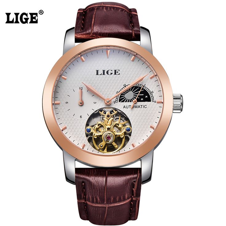 >> Click to Buy << 2016 LIGE Brand Men's Watches Moon Phase Tourbillon Automatic Watch men Dive 50m Business Leather Gold Man Clock montre homme #Affiliate