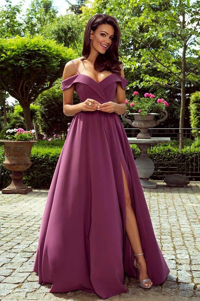b40faa7730 Elegancka Długa Suknia Caroline Jagodowa w 2019