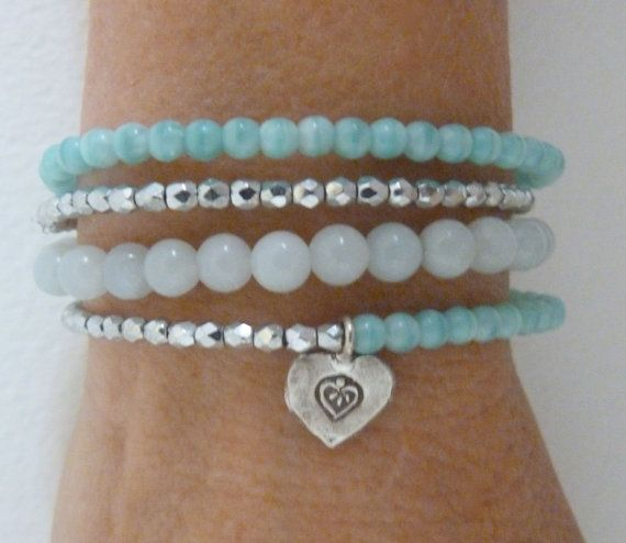 beachcomber mint turquoise silver bracelet sterling silver heart charm