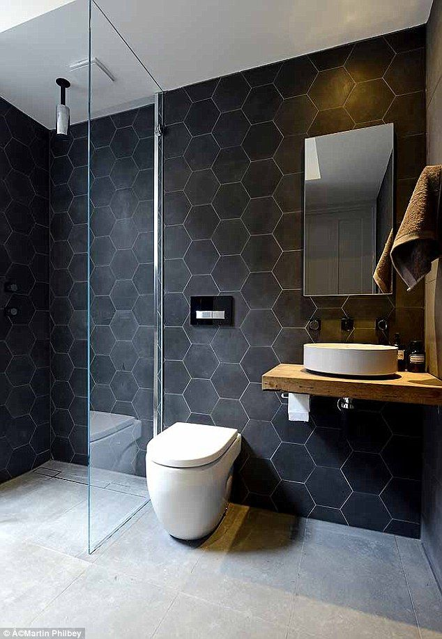 Love the Toilet & Hexagon Tile design in the bathroom