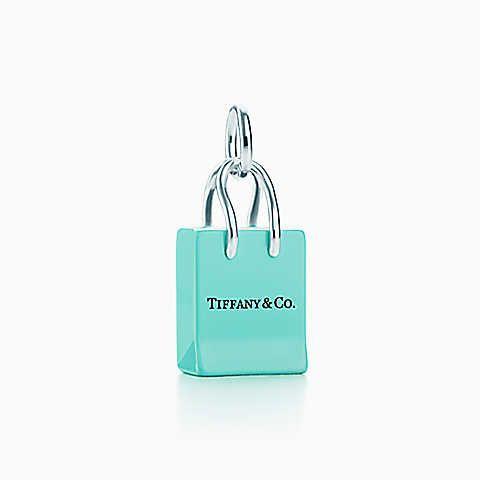 Berloque de sacola de compras Tiffany & Co.® em prata de lei com esmaltação.