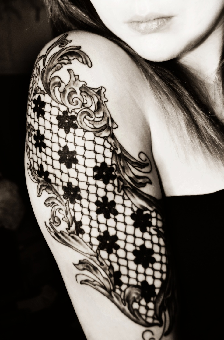 lace tattoo #lace #tattoo #ink  Little something different other than the little flowers in it.