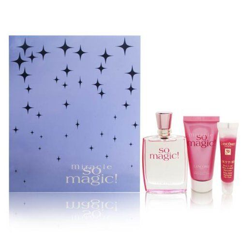 Miracle So Magic! by Lancome for Women 3 Piece Set Includes: 1.7 oz Eau de Parfum Spray + 1.7 oz Shimmering Body Lotion + Juicy Tubes Ultra Shiny 19 Lychee by Lancome. $100.00. Buy Lancome Gift Sets - Miracle So Magic! by Lancome for Women 3 Piece Set : 1.7 oz Eau de Parfum Spray + 1.7 oz Shimmering Body Lotion + Juicy Tubes Ultra Shiny 19 Lychee