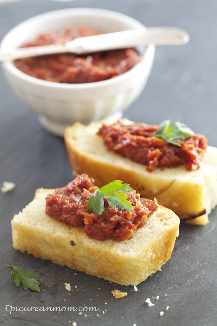 Sun Dried Tomato and Balsamic TapenadeTapenade Recipe, Mom Blog, Balsamic Vinegar, Balsamic Tapenade, Tomatoes Spreads, Epicurean Mom, Sundried Tomatoes, Sun Dry Tomatoes, Appetizers