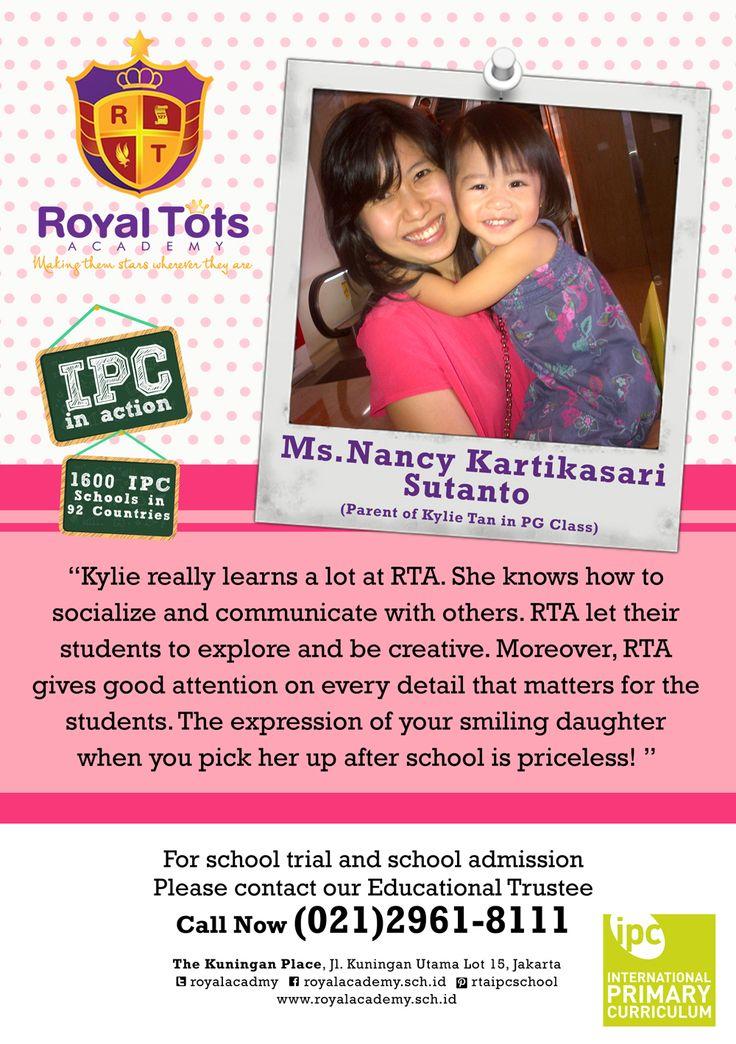 Ms.Nancy Kartikasari Sutanto (Parents of Kylie Tan in RTA PG Class)   #Parent #IPC #School #Testimony