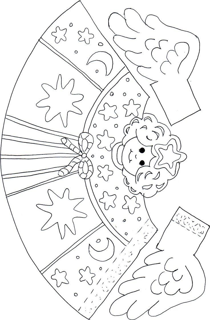Christmas DIY Worksheet Xmas Angel. Show your craftiness Color, Cut, Fold.Papírangyalka