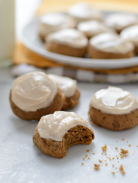 Pumpkin Spice Latte Cookies with Cinnamon Cream Cheese Frosting - Moist and fluffy, but not cakey with the flavor of everyone's favorite fall latte!