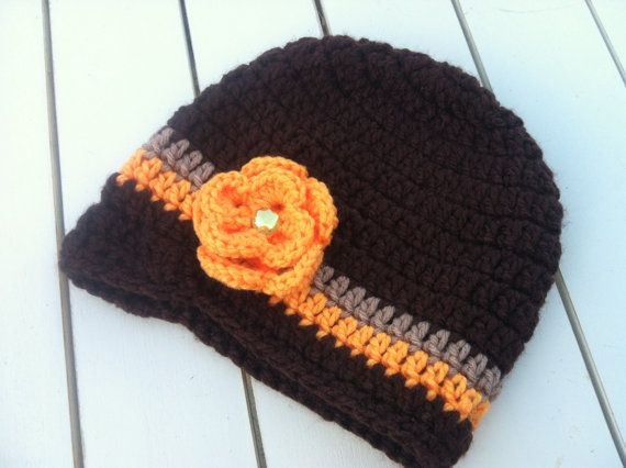Baby Girls Fall flower Crochet HatBrown & Orange by BetterThanBows, $14.95