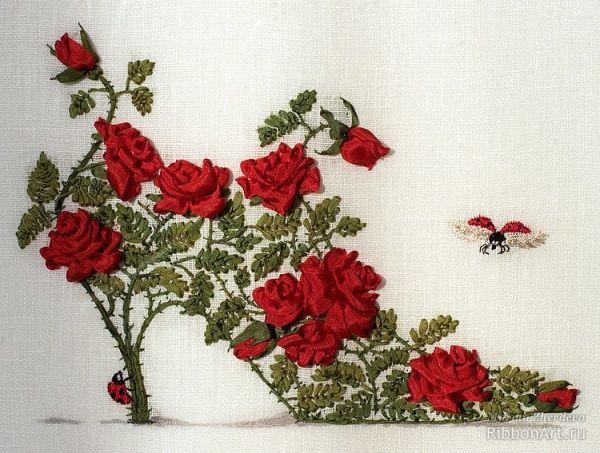 вышивка розы лентами мастер класс - Поиск в Google