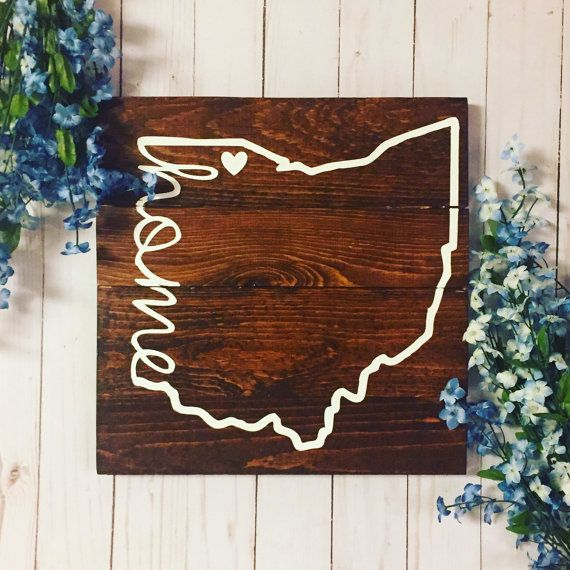 Ohio State Home Sign State Sign State and City by HoneyLavenderDesigns