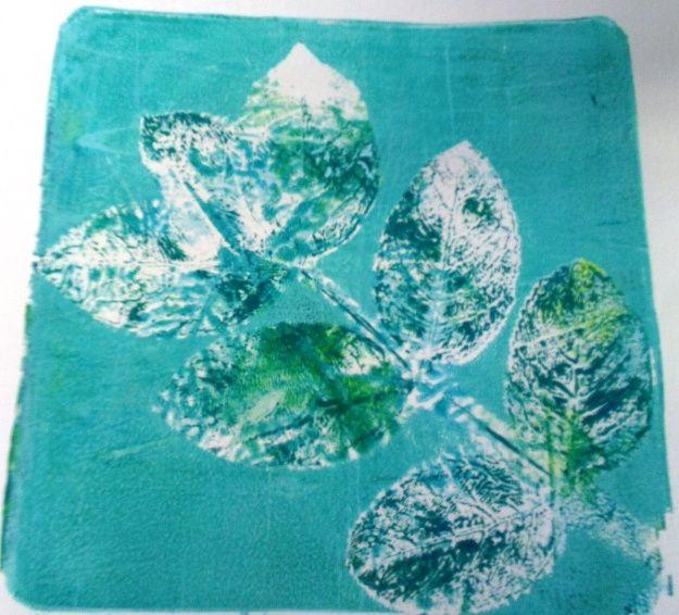 Blue leaf Gelli @Gelli Arts®