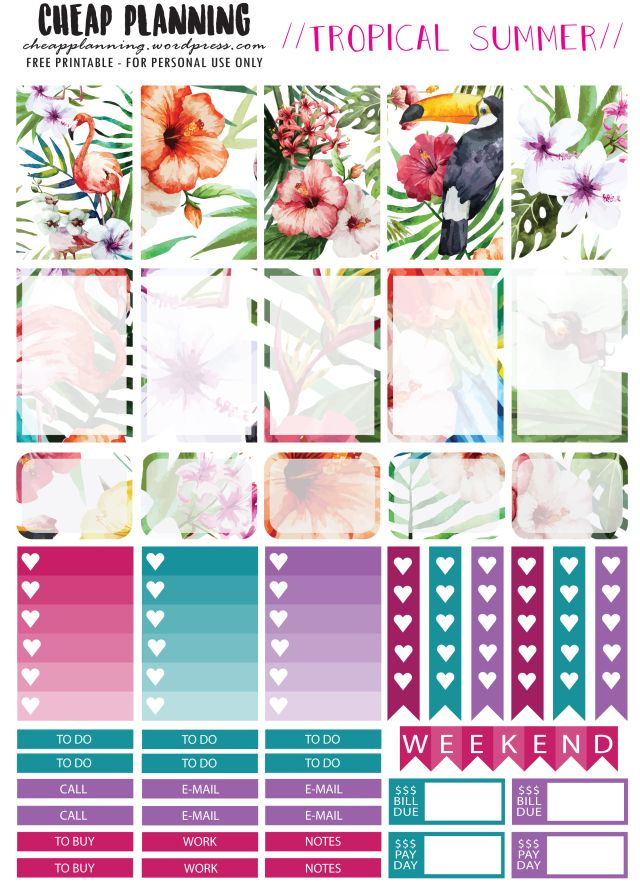 Tropical Summer Planner Stickers
