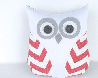 coral and white owl plush owl pillow chevron by whimsysweetwhimsy