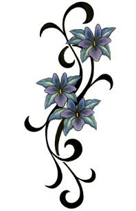 3 Tribal Purple Flowers Tattoo Love this you have great taste Tori
