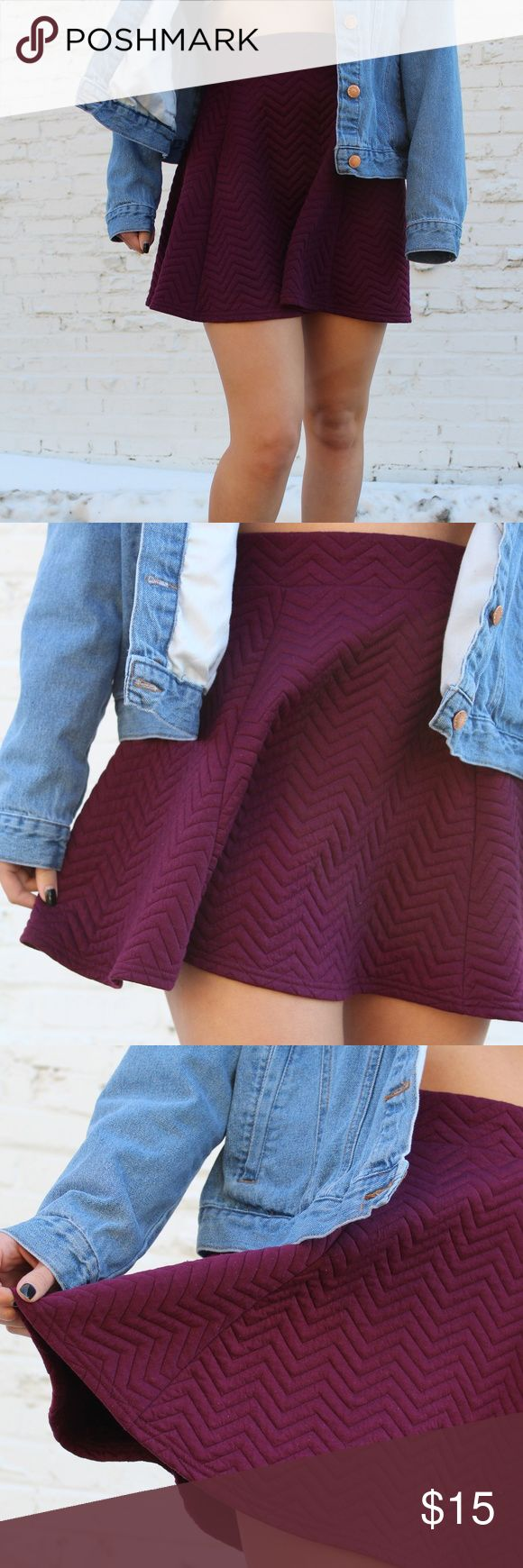 H&M Plum Skirt Want to wear a fun skirt during the colder seasons? This plum skirt from H&M is the perfect combination of cute and cozy. The breathable fabric  features a pleated design that is comfortable and easy to wash. H&M Skirts